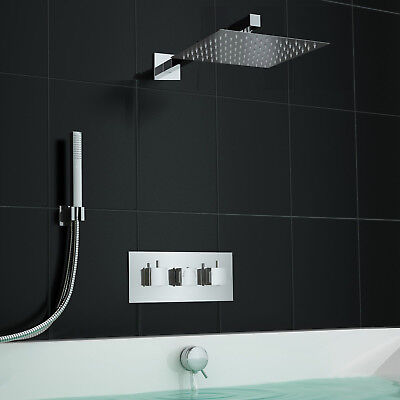 Concealed Square Centrafill Thermostatic Mixer Bath Shower Set