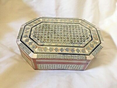 """Egyptian Octagonal Mother of Pearl Wood Inlaid Jewelry Box 8.25"""" X 5.5"""" #494"""