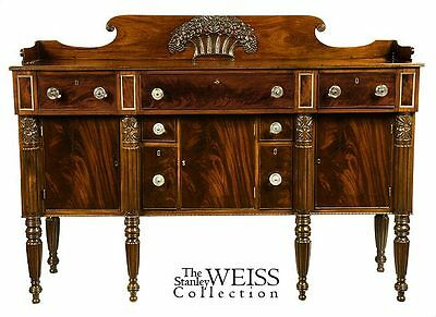 SWC-Rare Carved Mahogany Sideboard, Salem, c.1820