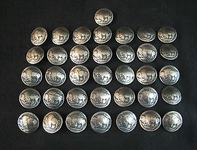 (36)  Buffalo  Nickel / Concho  Buttons    (Tails)