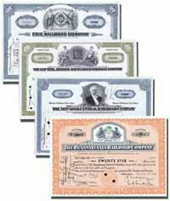 RAILROAD STOCK CERTIFICATES - Sold in sets of four stock certificates - Collect