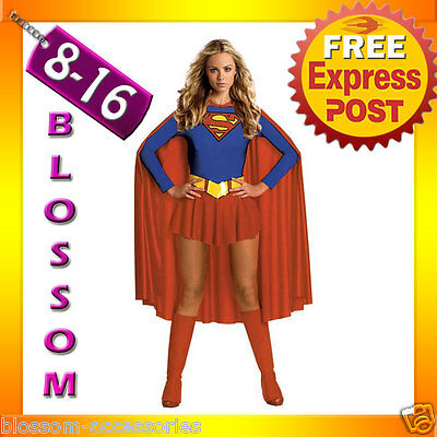 F95 Ladies Supergirl Super Girl Hero Woman Fancy Halloween Superhero Costume