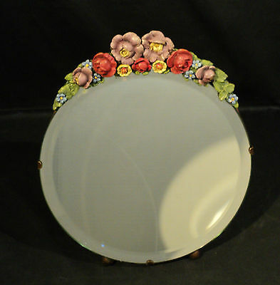 """1930's ENGLISH CABBAGE ROSE """"BARBOLA"""" DRESSING MIRROR,  EASEL BACK"""