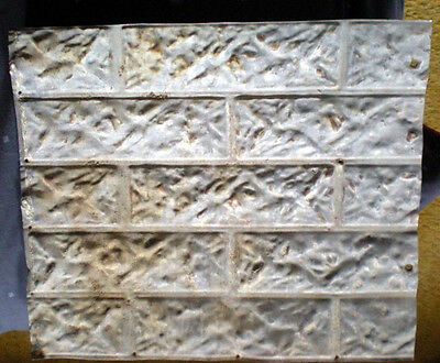 SALE 14 x 16 Antique Ceiling Tin Outdoor Brick Pattern Tin Shabby Chic