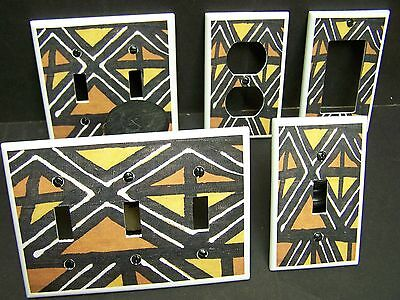 African Mud Cloth Design #5 Light Switch Cover Plate Or Outlet Cover