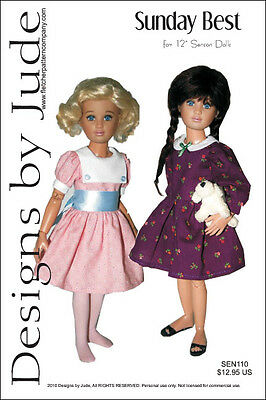 "Sunday Best Dress Doll Clothes Sewing Pattern for 12"" Senson Dolls"