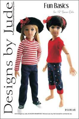 "Fun Basics Doll Clothes Sewing Pattern for 12"" Senson Dolls Designs by Jude"