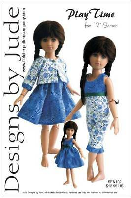 "Play Time Doll Clothes Sewing Pattern for 12"" Senson Dolls Designs by Jude"