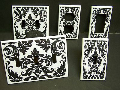 Black Damask On White #1  Light Switch Or Outlet Cover