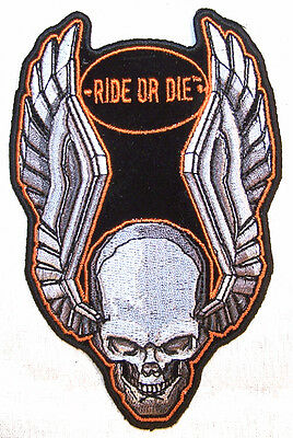 TOO LOUD SKULL TOP HAT EMBRODIERED PATCH P3430 biker NEW motorcylce bike patches