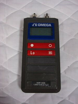 Omega Digital Manometer Hhp100A 1.999/19.99 In H2O Used