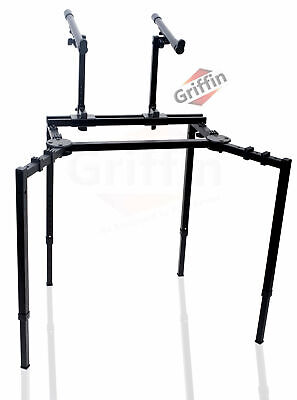 Double Keyboard Stand - Studio Stage Mixer Turntable DJ Coffin 2 Tier Laptop PA
