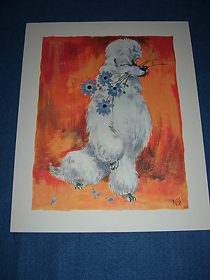 """GIANT SIZE 11"""" X 9"""" Vtg 1960's Greeting Card White Poodle Dog Flowers Artist"""