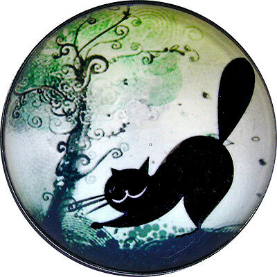 Black Cat Scratching a Tree - Crystal Dome Button Lg Sz 1 & 3/8 inch PC14