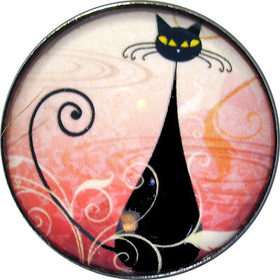 Black Cat & Spiral Tail - Crystal Dome Button Lg Sz 1 & 3/8 inch PC12