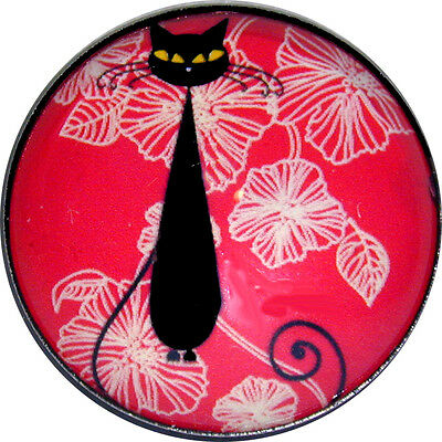 Black Cat w/ Leaves Pink/Red Crystal Dome Button Lg Sz 1 & 3/8 inch PC13