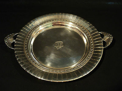 "International Sterling Silver 10"" Round Tray, Fluted Edge & Shell Handles"