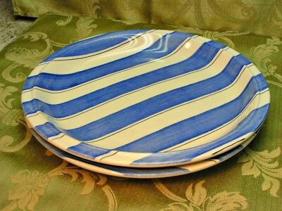 Pinstripes Blue by Grindley LOT 2 DINNER PLATES stripes black lines England S52