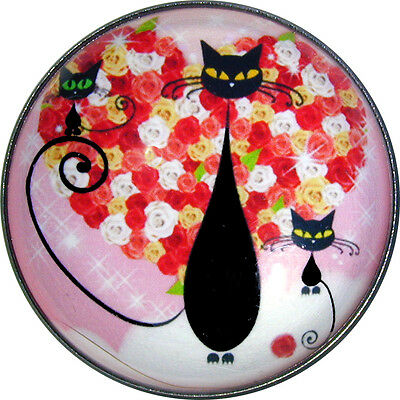 Black Cat & Kittens w/ Heart - Crystal Dome Button Lg Sz 1 & 3/8 inch PC04