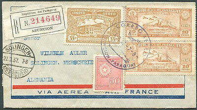 PARAGUAY TO GERMANY Registered Air Mail Cover 1937 FVF