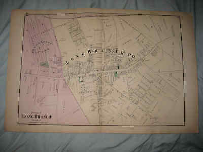 Superb Antique 1873 Long Branch City & Po New Jersey Handcolored Map Land Owners