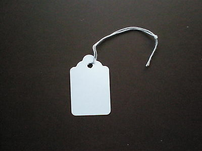 1000 Blank White Price Tags with String #5 Measures 1-1/8 wide by 1-3/4 inches