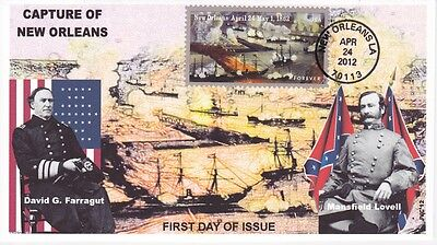 Jvc Cachets - 2012 Civil War Capture Of New Orleans First Day Cover Fdc Type 2