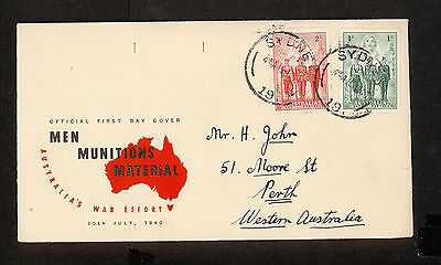FDC 1940   AIF First Day Cover 1d & 2d ADDRESSED Sydney NSW Postmark (3383)