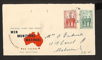 FDC 1940   AIF First Day Cover 1d & 2d ADDRESSED Irymple Vic Postmark (3393)