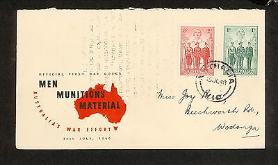 FDC 1940   AIF First Day Cover 1d & 2d ADDRESSED Nathalia Vic Postmark (3397)