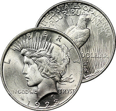 1923 Peace Dollar Silver Coin Mint State Original Choice Brilliant Uncirculated