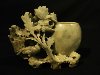 19th CENTURY CHINESE CARVED SOAPSTONE VASE with BIRD