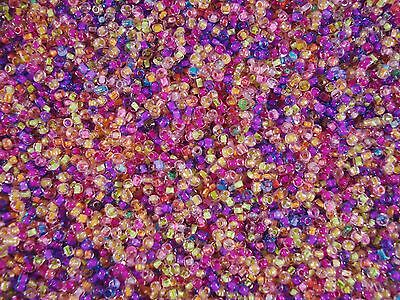 """Seed Beads 3mm Mix of """"Inside"""" Colours 50g Beading Necklaces FREE POSTAGE"""