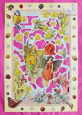 Victorian Scrap Paper Die Cut Flower Fairy Red Poppy Cicely Mary Barker