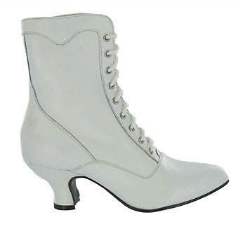 Oak Tree Farms Veil Victorian Wedding lace up Granny boots sizes 9-11 white