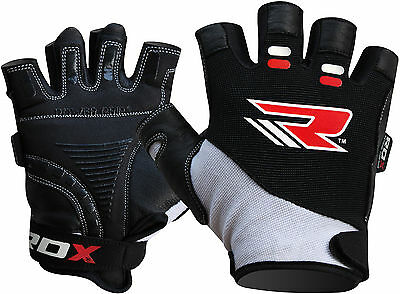 RDX Gel Weight Lifting Body Building Gloves Gym Workout Crossfit Fitness Leather