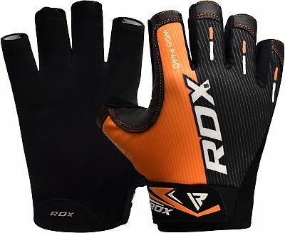 RDX Gel Weight Lifting Body Building Gloves Gym Straps Bar Training Leather