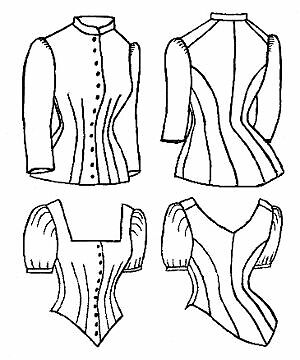 Sewing pattern 1885 Cuirass Bodice Blouse Victorian reproduction TV460