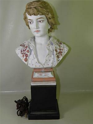 Antique Continental Bisque hand Painted Porcelain Figural Bust Lamp