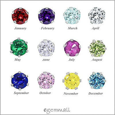 Sterling Silver Everyday Stud Post Earrings with CZ Birthstones 3,4,5,6 mm