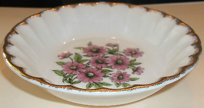 (7) W. S. George Berry Bowls in Great Shape - Pretty Pink Flowers with Gold Edge