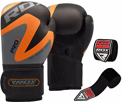 RDX Leather Boxing Gloves & Hand Wraps Inner Bandage Training MMA Punching Fight