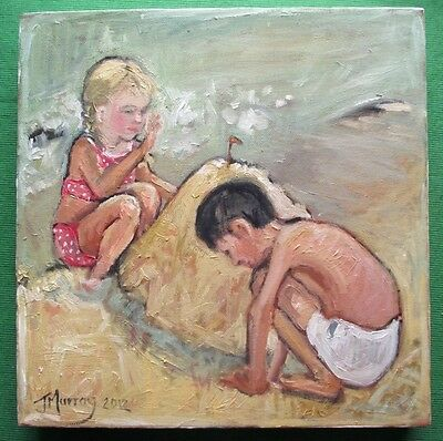 Superb Figurative Study Original Oil Painting by Jane Murray : The Sand Castle