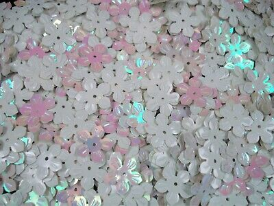 Sequins Flowers 13mm White AB 25g Crafts Clothing Jewellery Floral FREE POSTAGE