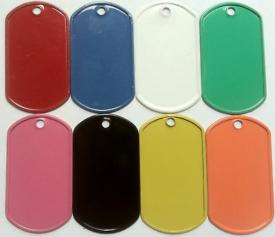 50 Colored Stainless Steel Military GI Dog Tags  9 colors Powder coated tag