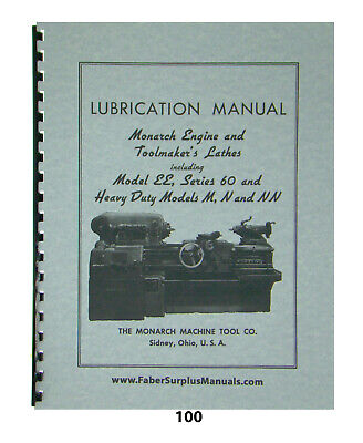 MONARCH LATHE INSTALL, Op & Parts Manual Models EE (early), M, N, NN on
