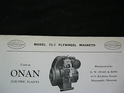 1937 Eisemann 71-J Onan Engine Flywheel Magneto Parts List & Diagram