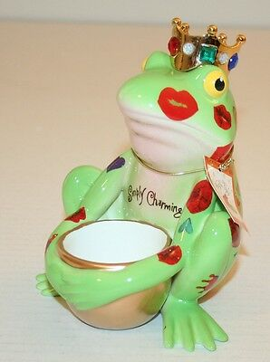 "Westland Fanciful Frogs Ceramic #6344 ""Frog Prince Votive"" Figurine New in Box"