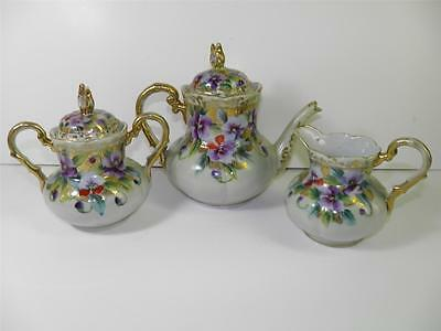Antique Hand Painted Gilded Enamel Floral Pansies Nippon Unsigned Tea Set