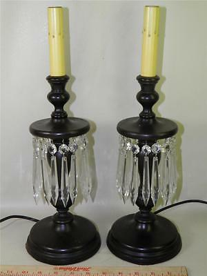 Antique Pair Victorian Wood Candlestick Lamps Electrified Cut Crystal Prisms